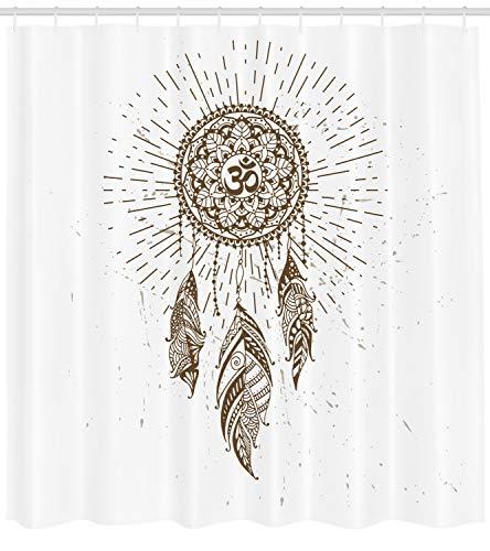 ABAKUHAUS Yoga Duschvorhang, Traumfänger-Mandala-Kunst, mit 12 Ringe Set Wasserdicht Stielvoll Modern Farbfest und Schimmel Resistent, 175x240 cm, Weiß und Braun (Braun Duschvorhang Set)