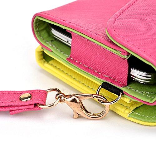 Kroo d'embrayage portefeuille avec dragonne et sangle bandoulière pour Prestigio MultiPhone 7500 Black and Orange Magenta and Yellow