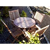 Mortimer 4 Seater Garden Set - Solid Teak 80cm / 2.6ft Round Folding Table with Folding Armchairs and Chairs