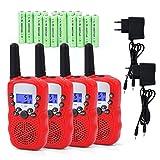 Funkprofi Walkie Talkie Set für Kids, 388 Funkgerät für Kinder mit Wiederaufladbarer Akkus, Hobbyfunker 8 Kanal PMR 446 Reichweite bis 2 – 3 km (4er-Set) Rot