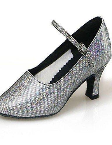 ShangYi Chaussures de danse (Noir/Bleu/Rouge/Gris/Or) - Non personnalisable - Talon Large - Paillettes scintillantes/Synthetic - Moderne Burgundy