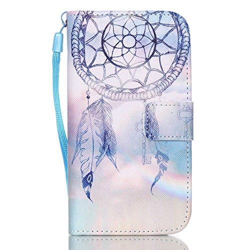 Samsung Galaxy S4 Custodia,ISAKEN Creative Ultraslim Book Style Custodia Portafoglio Cover Case in PU Cuoio per Galaxy S4 i9500, Flip protettivo Wallet Caso copertina con funzione di supporto e chiusura magnetica+sling - acchiappasogni piuma arcobaleno