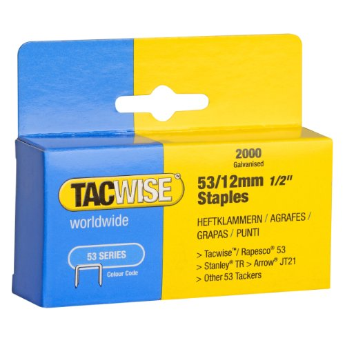 Tacwise Agrafes de Type 53 / 12 mm Galvanisées (Boîte de 2 000)