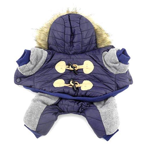 zunea Fleece Kleine Hunde Schneeanzug mit Kapuze Dick Puppy Winter Overall Hoodie Coat Haustier Warm Parka Jacke Warm Chihuahua Kleidung Outfit (dieser Style Run klein, wählen Bitte eine Größe größer)