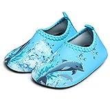 JIASUQI Wasserschuhe Baby Beach Swim Schuhe Quick-Dry Aqua Socken Pool Schuhe für Surf Yoga Wassergymnastik, Blue Dophin 18-24 Monate