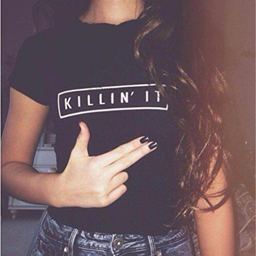 Ouneed® Femme Court Style Cotton T- shirt manches courts Noir