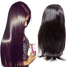 Maxine Hair - Peluca de pelo humano virgen brasileño sin pegamento, pelo humano liso con pelo de bebé para mujeres negras, pelucas de encaje recto, ...