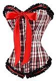 Corset, diseño de cuadros, color negro, rojo y blanco con froufrou flote y