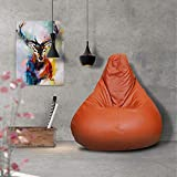 Story@Home XL Leatherite Single Seating Tear Drop Bean Bag Chair Cover Without Filler, Black