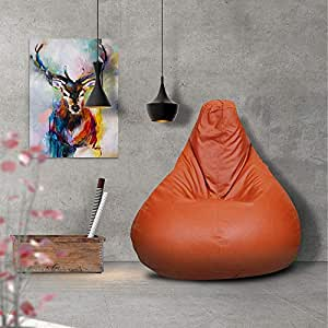Story@Home Tear Drop Shape Faux Leather Bean Bag Chair Cover Without Filler - Single Seating - Size XL, Orange