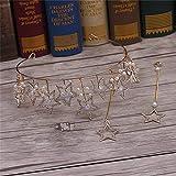 Littlefairy Braut Haarschmuck,Braut Krone Ohrring Zweiteiliges Set Handgefertigte Perlen Sterne Gold Hochzeit Kopfschmuck
