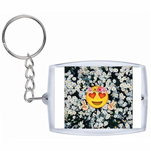 üsselanhänger Verliebter Emoji mit Blumen und Herz Augen Rucksackanhänger, Taschenanhänger, Keyring, Emoji, Smiley, Exklusiv ()