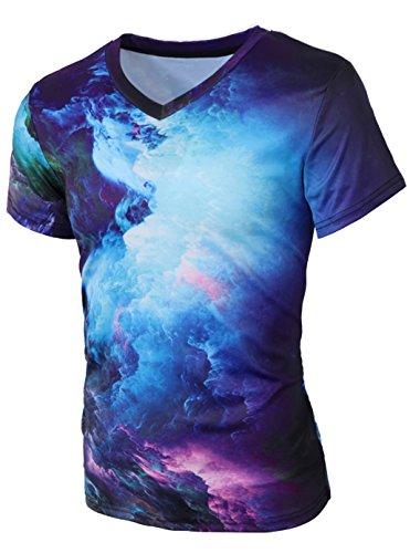 Leapparel Unisex 3D Galaxy Print Graffiti Hip Hop Style Kurzarm V Neck T-Shirt Tee Tops