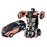 1Pc Transformation Roboter-Auto-Transformator Auto Deformation Kleine Roboter-Auto-Träger-Spielzeug Kinder Inertial Mini Kollision Deformation Bugatti Tätigkeits-Auto-Spielzeug, Orange