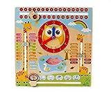 #3: Emob Early Learning Cartoon Owl Clock Season Weather Multi-functional Wooden Educational Board Toys