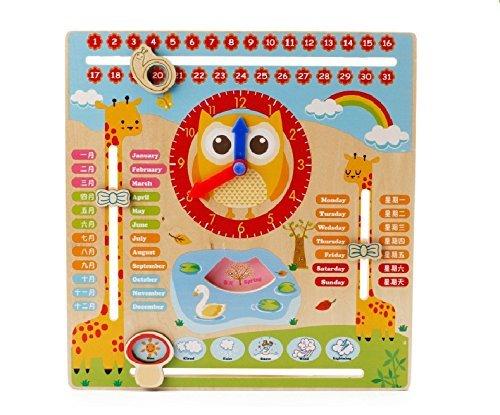 Emob Early Learning Cartoon Owl Clock Season Weather Multi - Functional Wooden Educational Board Toys