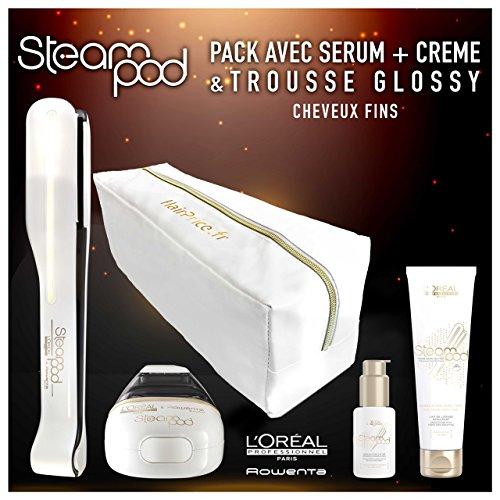 L'oreal - Pack Steampod 2.0 trousse glossy - fer à lisser vapeur nouvelle génération + Sérum + Lait de lissage cheveux fins + trousse glossy de rangement
