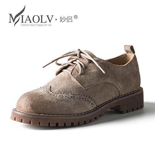 Chaussures de Bullock au printemps/Femmes plat brosse hors tour souliers pour dames tête des/ chaussures de cuir nubuck A