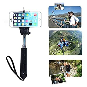 Toch TM Universal Wireless Bluetooth Extendable Self Portrait Monopod Adjustable iPhone Stick Pole with Remote Button Shutter for iphone6 iphone 6 plus iphone 4/5/5s IOS Samsung Galaxy S5 S4 S3 Note 3 2 Black