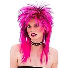 Unisex 80's Retro Hot Pink Rocker Wig by Wicked Wicked