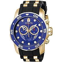 Invicta Pro Diver - 6983 Orologio da Polso, Cronografo, Uomo, Cinturino Gomma, Nero - 18k Quadrante Blu