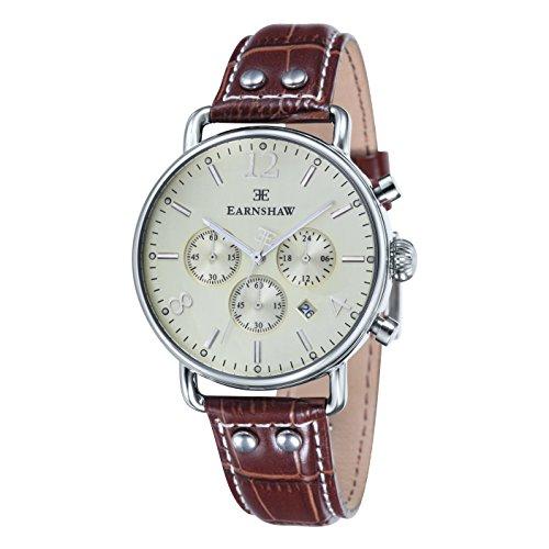 Thomas Earnshaw ES-8001-05 Orologio da Polso Cronografo da Uomo, Cinturino in Pelle, Colore Marrone
