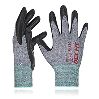 Nitrile Work Gloves FN330, 3D Comfort Stretch Fit, Power Grip, Durable Foam Coated, Smart Touch, Thin Machine Washable, Grey Large 3 Pairs Pack