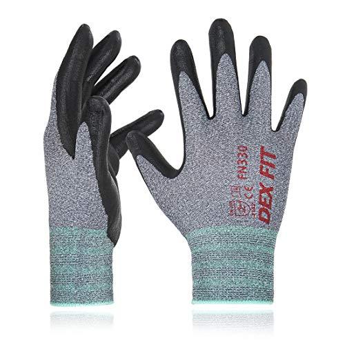 Dex fit fn330 guanti da lavoro, 3d comfort, sottile vestibilità elastica in nylon spandex, presa eccellente, smart touch, rivestiti in schiuma di nitrile durevole, lavabile in lavatrice, grigio grande 3pr
