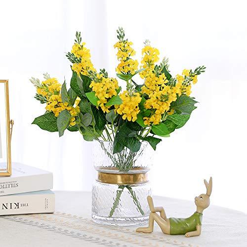 JUSTOYOU Flores de Seda Artificial Jacinto del Ramo Flores Falsas de Rosa y Hojas con Tallo de plástico 7 sucursales para el Hotel en casa Fiesta de Bodas Jardín Decoración Floral (2pcs, Amarillo)