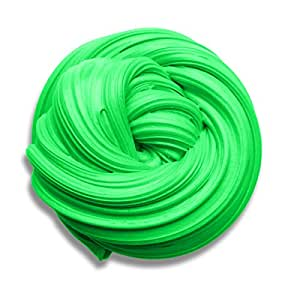 Fluffy Slime, 6OZ Baby Putty Floam Slime Sensory Play Stress Relief Toy ADHT ASMR No Borax with Nice Fragrance & Storage Container for Kids & Adults (green slime)