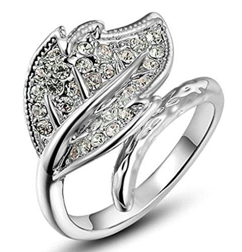 Anelli Donna Matrimonio Placcato Oro Bianco Foglia Zirconia Cubicia Cz Dimensioni 14,5 Da Aienid