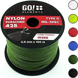 GO!elements 100m Cuerda Paracord de Nylon Resistente al desgarro – 3mm Paracord 425 Tipo II líneas como Cuerda para Exteriores, Cuerda para Todo Uso – línea de Nylon MAX. 192kg