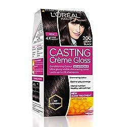 LOreal Paris Casting Creme Gloss, Ebony Black 200, 87.5g+72ml