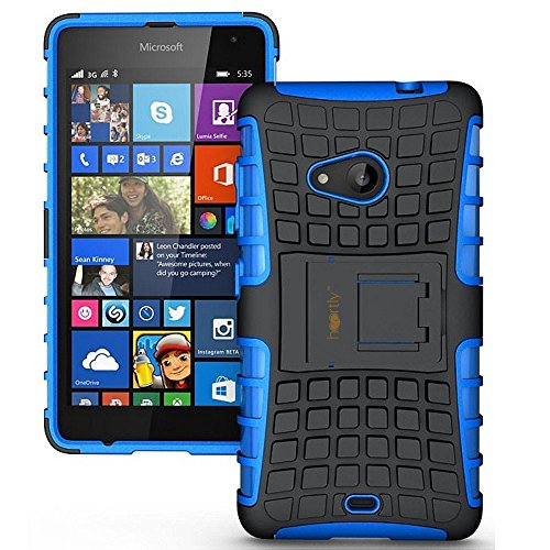 Heartly Flip Kick Stand Spider Hard Dual Rugged Armor Hybrid Bumper Back Case Cover For Microsoft Nokia Lumia 535 - Power Blue