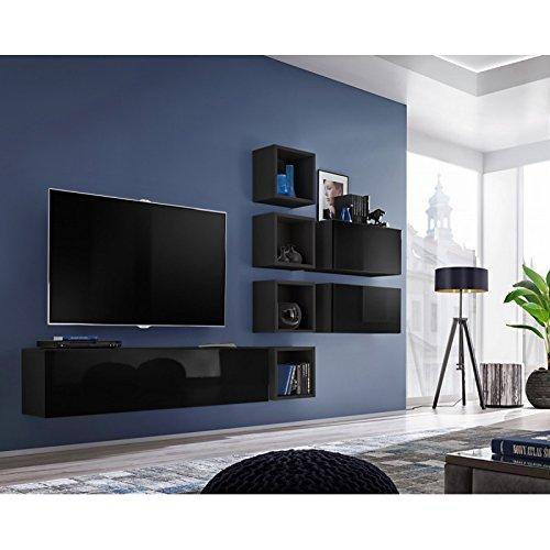 Paris Prix - Meuble TV Mural Design blox VII 280cm Noir