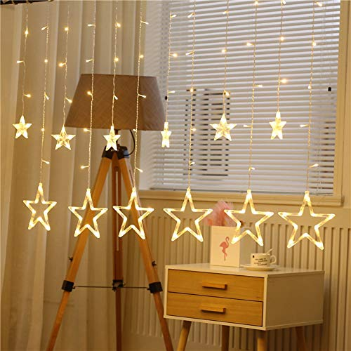 LED Star Lights Warm Yellow Sternenvorhänge Hängelampe Schlafzimmer Romantische Raumdekoration Lampe,2.5m/98.42in -