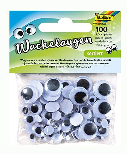 Folia 7509 - Set de Ojos de plástico con pupilas móviles (100 Unidades, 6 tamaños Surtidos) Importado de Alemania