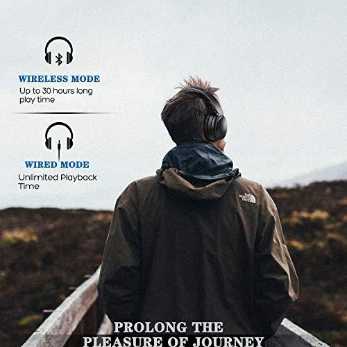KAMTRON Bluetooth Kopfhörer Noise Cancelling Kabellos - HiFi Stereo Bass Over Ear Headset mit Mikrofon, 26-Stunden-Wiedergabezeit, Flugzeugadapter, faltbar für Reisen und Arbeiten, PC/Handy / TV - 4