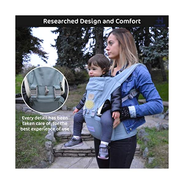 HANLINE LITTLECUDDLES 3-in-1 Ergonomic Baby Carrier Backpack [4 Colours: Turquoise-Blue-Grey] - High Quality/Breathable/Easily Adjustable Fabric - for 0-3 Years Navy Blue (Turquoise) Hanline LittleCuddles 👶 WE ONLY USE HIGH QUALITY MATERIALS: Hanline LittleCuddles is committed to selecting high quality fabrics to make the use of our baby bags more comfortable and safe. The light cotton combined with the soft padded material which is pleasant to the touch increase the comfort of the newborn and parents. On summer days, you can open the front zip which facilitates the passage of air inside the fabric, thanks to the soft breathable mesh fabric. 📃 CERTIFIED AND TESTED SAFETY: The Hanline baby carrier features a soft HIP seat which makes your baby's position ergonomic and safety. In addition, there are various soft fabric parts that eliminate pressure on the baby's body and the wearer. 🔝 3 PRODUCTS IN 1: The ergonomic 3 in 1 baby carrier can be worn in different positions that best adapt to the different stages of growing baby. 4