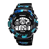 Uhren Herren Quarz Warnungs Datums Sport Armbanduhr der Art und Weisemänner Digital LED Sportuhr Wasserdicht Uhr Casual Luxus Uhrenarmband Exquisit Uhr,ABsoar
