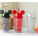 Rianz Ice Cream Cup With Straw Crushed Ice Creative Water Glass Cold Drink Mug Bottle Gift, 450 Ml