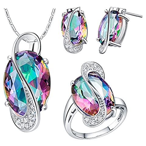 Jewellery Set, J.MOSUYA White Gold Plated Rainbow Mystic Topaz Earring Necklace Set for Women