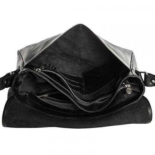 CASPAR - TL710 Sac à main en cuir vintage - Sac messager Noir