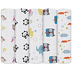 Lictin 5pcs Baby Swaddle Blankets, Unisex Soft Cotton Muslin Blanket Breathable Multiused Baby Swaddle Wrap, Burping Cloth Fun Animal Design Muslin Swaddle Blankets120*120cm(47 * 47in)