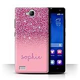 Stuff4® Personalisiert Individuell Glitter Effekt Hülle für Huawei Honor 3C / Rosa Design/Initiale/Name/Text Schutzhülle/Case/Etui