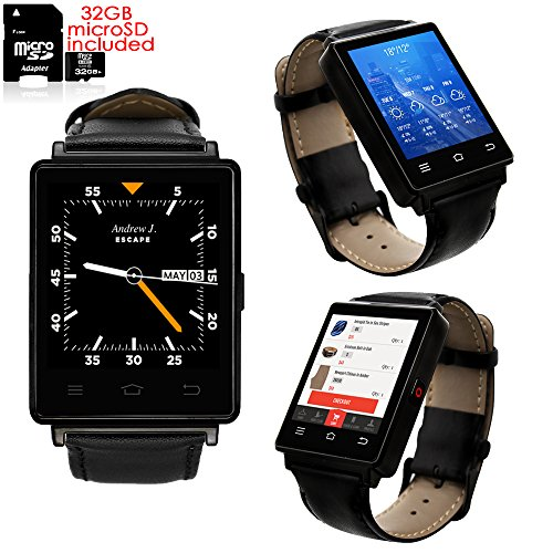Indigi® Sleek Android 5.1 3 G Entsperrtes AT & T Tmobile geeignet Smartwatch Phone + WiFi + GPS + Herzfrequenz + Bluetooth Headset (Android-handys Galaxy Tmobile)