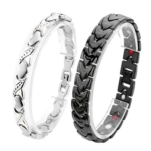 *JOVIVI Partner Magnetarmband 2x Edelstahl Magnetisch Armreif 4-in-1 Magnete Armband Freundschaftsketten Liebhaber Armrief #1*