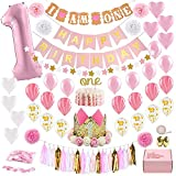Decorazioni 1° compleanno bambina prima decorazione party Supplies Set, kit di tema oro rosa principessa, cappello di 1 anno, striscione di buon compleanno, cake topper, pallone, decorazione di carta
