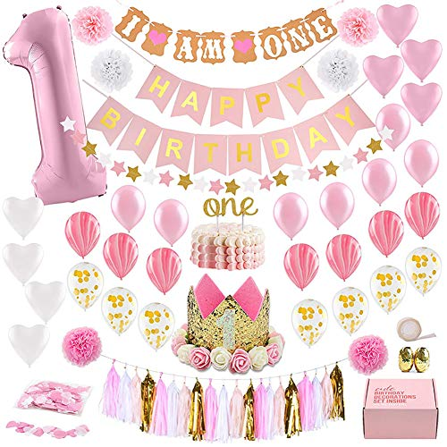 Queta 1. Geburtstag Dekorationen Baby Mädchen erste Dekor Party Supplies Set, Princess Pink Gold Theme Kit, 1 Jahr Hut, Happy Birthday Banner, Cake Topper, Ballon, Papier Dekor (Supplies Geburtstag Erster Party Baby)