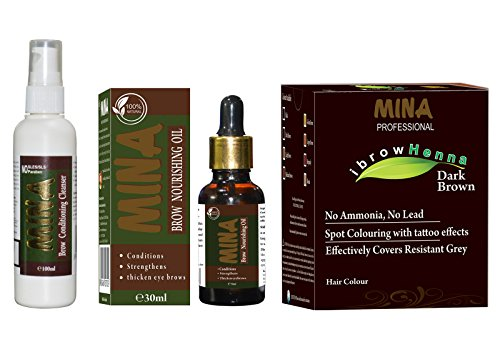 MINA Professional Brow Grooming & Tinting Kit For Eyebrows & Eyelashes - Combo Pack (Dark Brown Eyebrow Henna, Brow Conditioning Cleanser And Brow Nourishing Oil